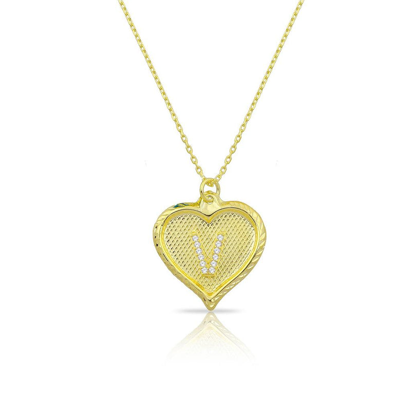 Custom Forever Initial Pendants JEWELRY The Sis Kiss Heart Gold with Crystal Initial