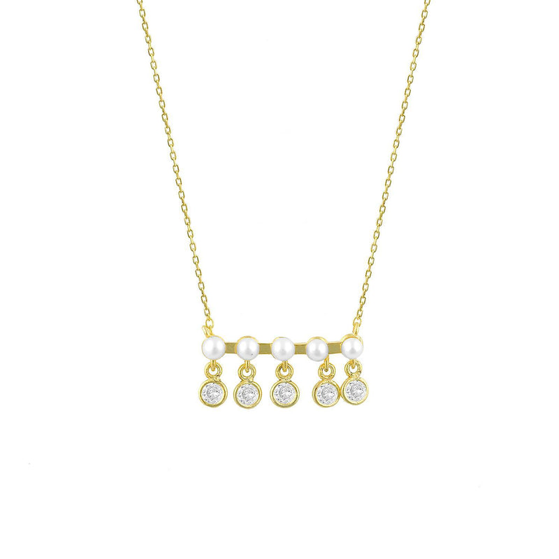 Five Pearls and Crystals on a Gold Bar Necklace JEWELRY The Sis Kiss