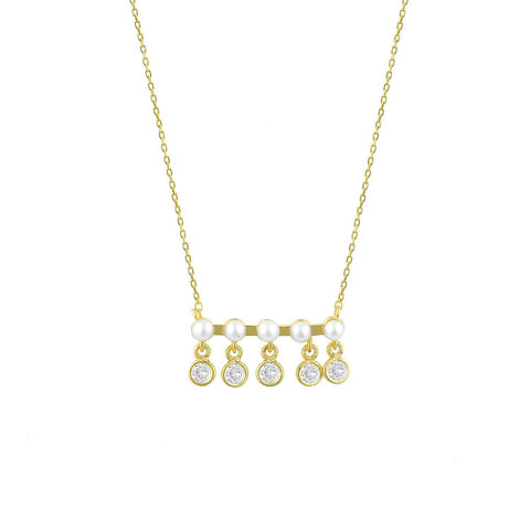 Five Pearls and Crystals on a Gold Bar Necklace