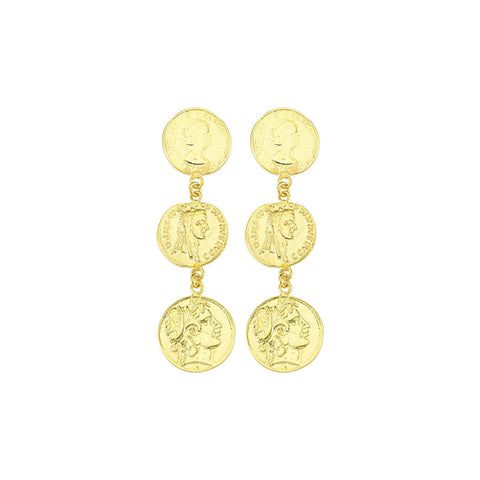 Gold Coin Drop Earring