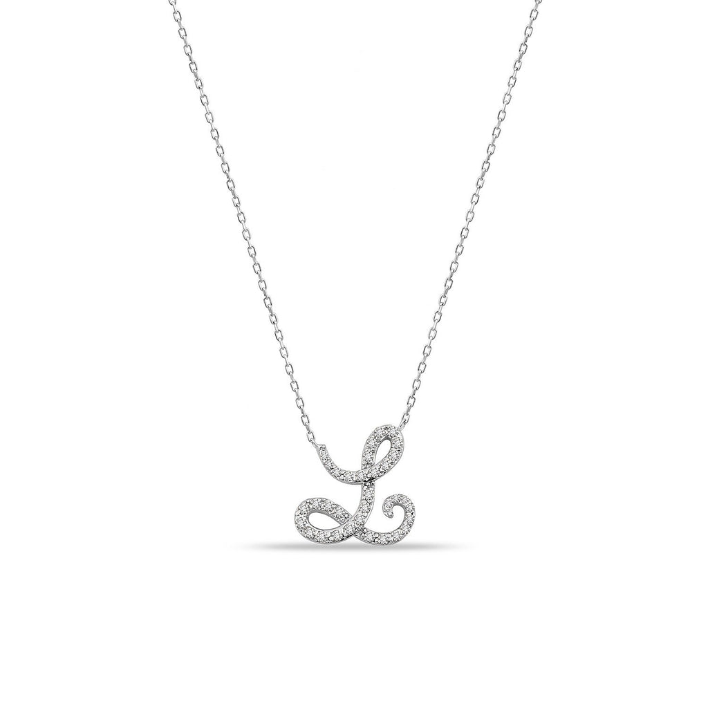 TSK Soho Script Diamond Initial Necklace JEWELRY The Sis Kiss 14k White Gold