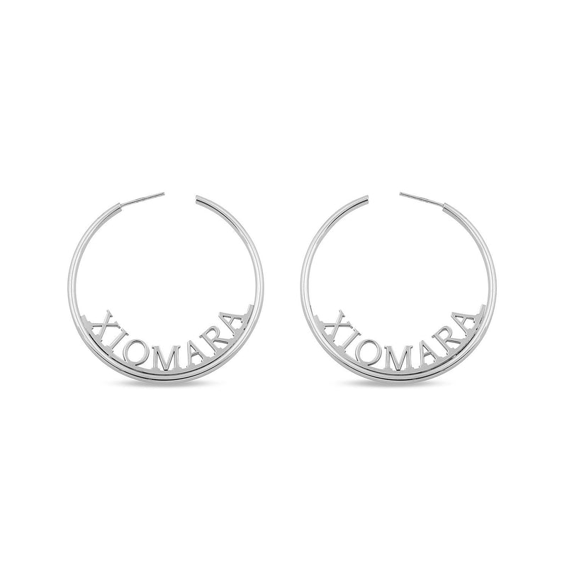 Custom Name Hoop Earrings JEWELRY The Sis Kiss Silver