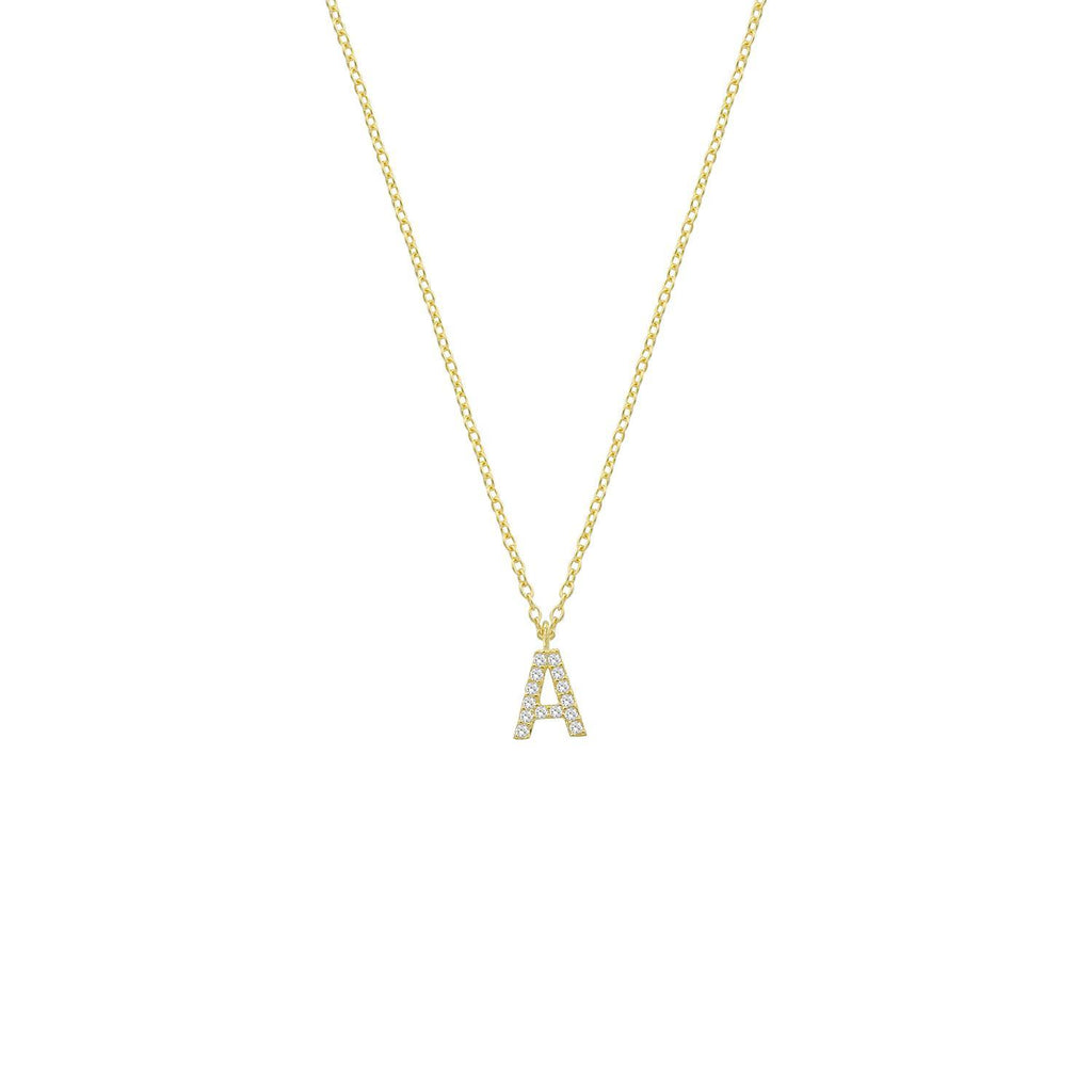Classic Initial Necklaces JEWELRY The Sis Kiss Gold with Crystals A