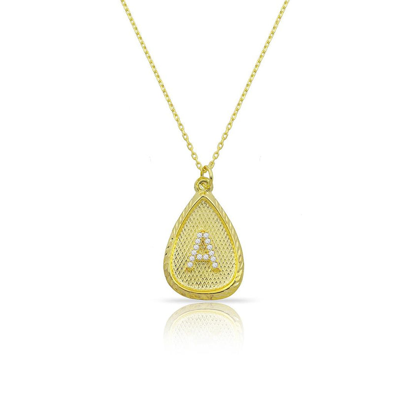 Custom Forever Initial Pendants JEWELRY The Sis Kiss Tear Drop Gold with Crystal Initial