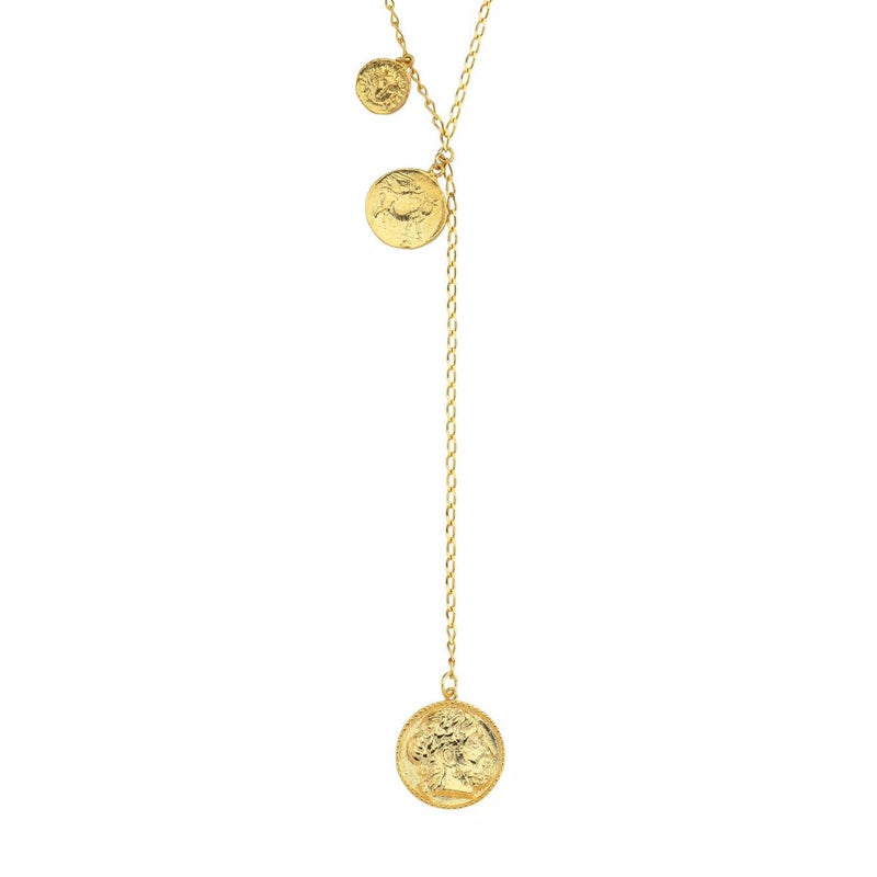 Gold Coin Y Style Necklace JEWELRY The Sis Kiss