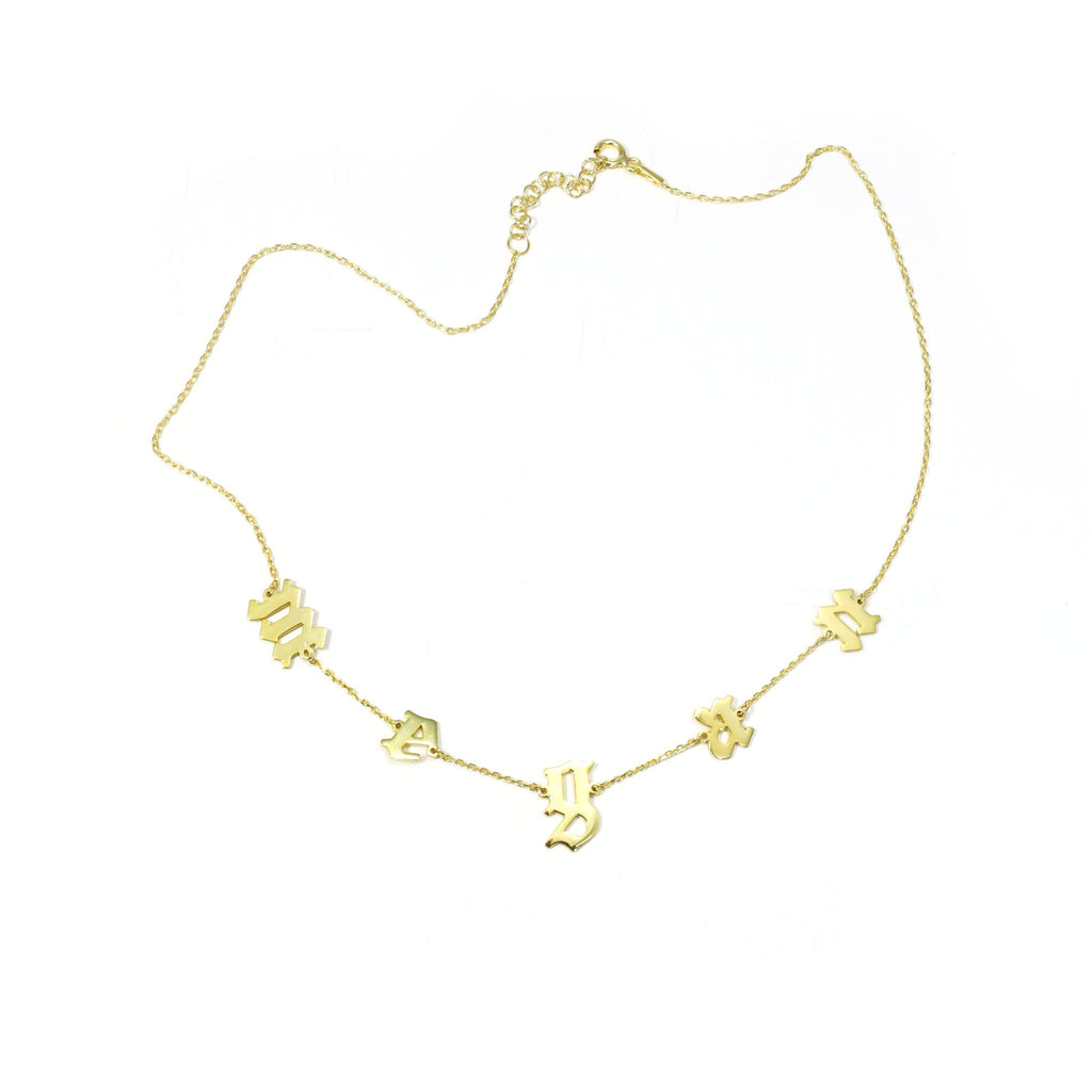It's All in a Name™ Old English Lowercase Personalized Necklace JEWELRY The Sis Kiss Gold Linked