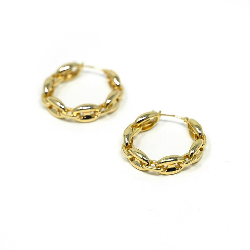 Anchor Chain Gold Hoop Earrings JEWELRY The Sis Kiss