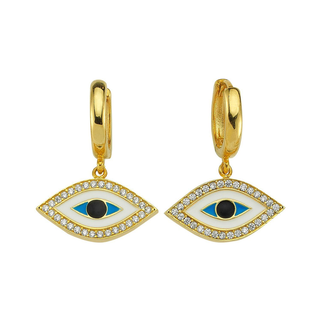 Ancient Evil Eye Huggie Earrings JEWELRY The Sis Kiss