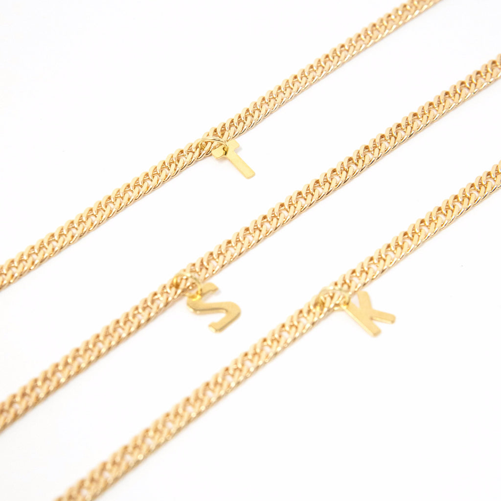 Gold Initial Anklet JEWELRY The Sis Kiss