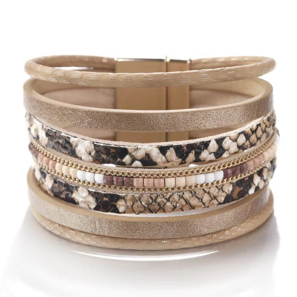 Multi Strand Mixed Animal Print Bracelet