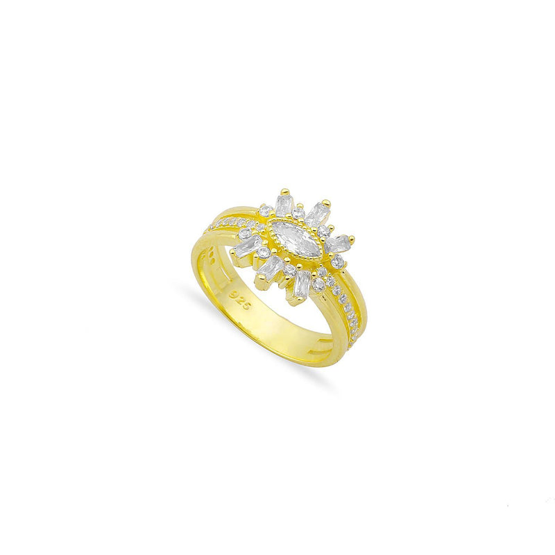 Baguette Burst Band Ring JEWELRY The Sis Kiss