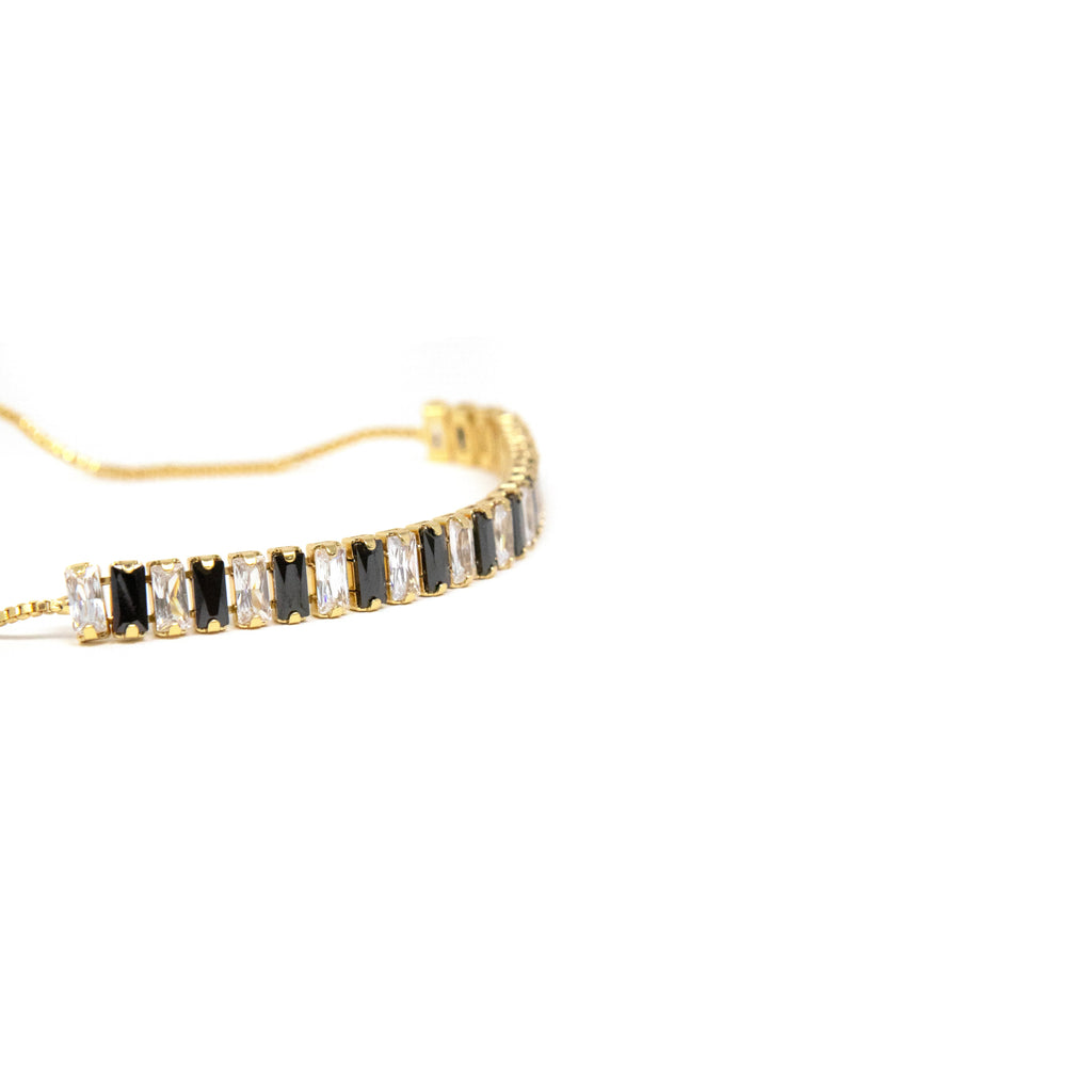 Black and Clear Crystal Bar Adjustable Bracelet