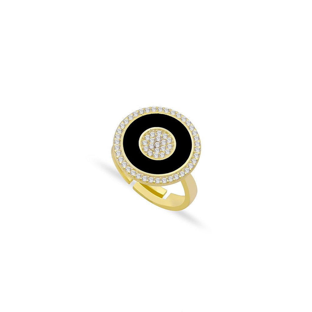 Black Enamel and Crystal Circles Ring JEWELRY The Sis Kiss