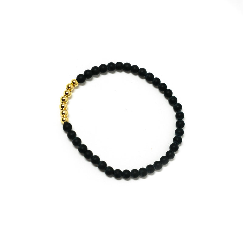 Pearl and Gold Bead Stretch Bracelet JEWELRY The Sis Kiss Black With Gold Accent