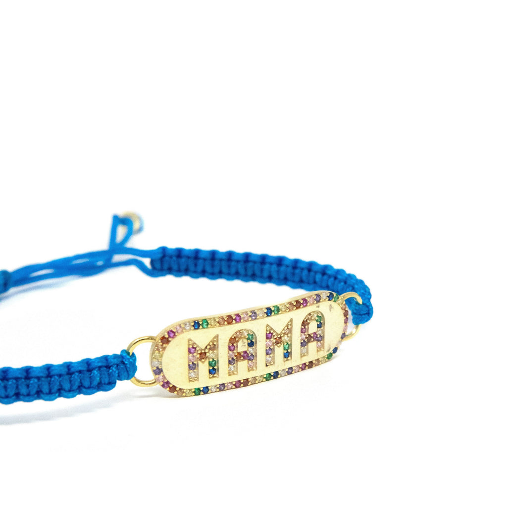 Mama Nameplate Cord Bracelet JEWELRY The Sis Kiss Blue