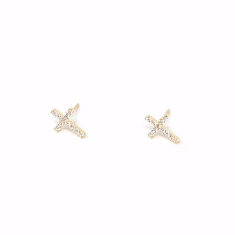 Carolina Crystal Cross Studs JEWELRY The Sis Kiss