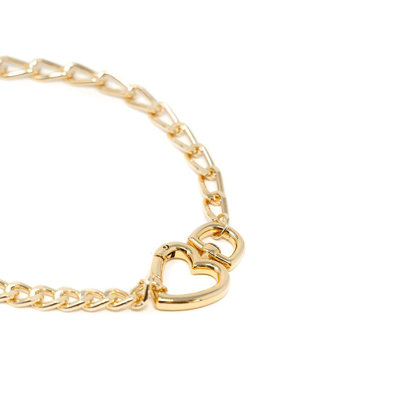 Chain Link and Heart Chokers JEWELRY The Sis Kiss Gold Cable Link with Gold Heart