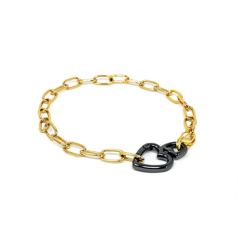 Chain Link and Heart Chokers JEWELRY The Sis Kiss Gold Cable Link with Grey Heart