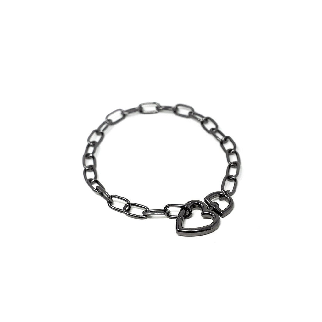 Chain Link and Heart Chokers JEWELRY The Sis Kiss Grey Cable Link with Grey Heart