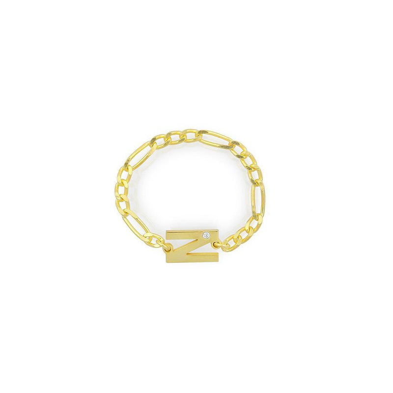 Custom Initial and Crystal Chain Link Ring JEWELRY The Sis Kiss Gold 4 Figaro
