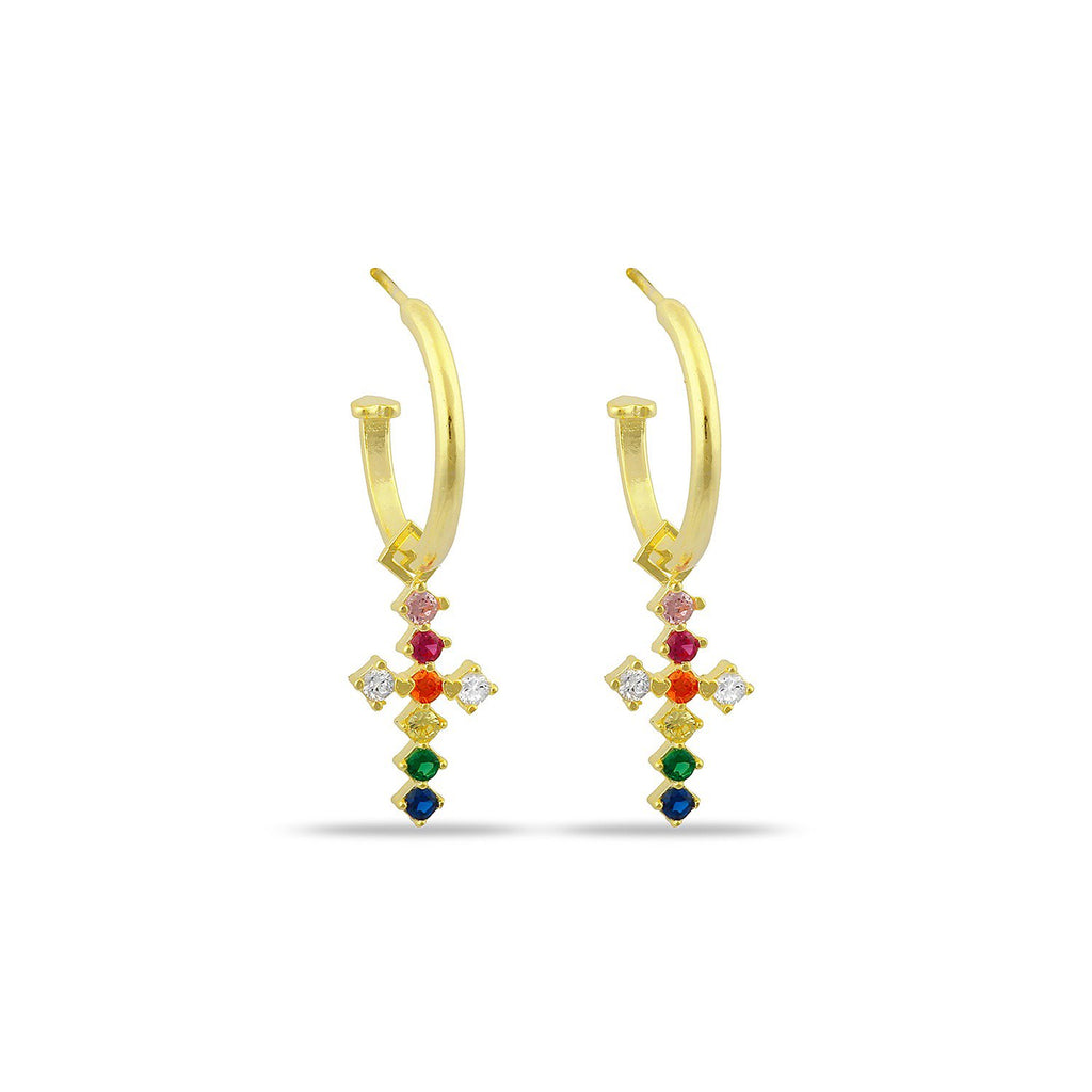 Charming Crystal Cross Hoop Earrings JEWELRY The Sis Kiss Rainbow