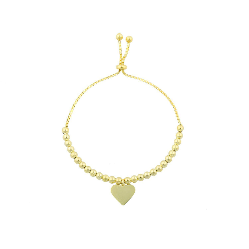 Classic Heart Charm Bracelet JEWELRY The Sis Kiss Gold