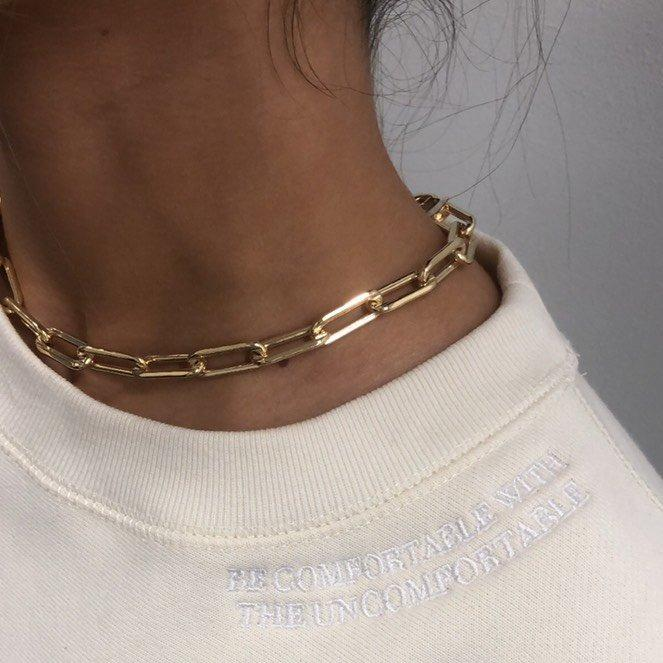 Classic Cable Chain Link Choker JEWELRY The Sis Kiss