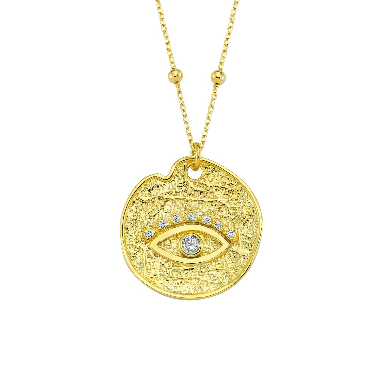 Coin with Crystal Evil Eye Pendant Necklace