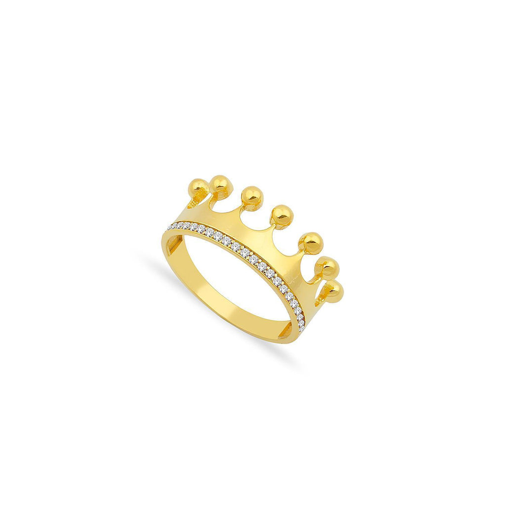 Crown and Crystal Band Ring JEWELRY The Sis Kiss