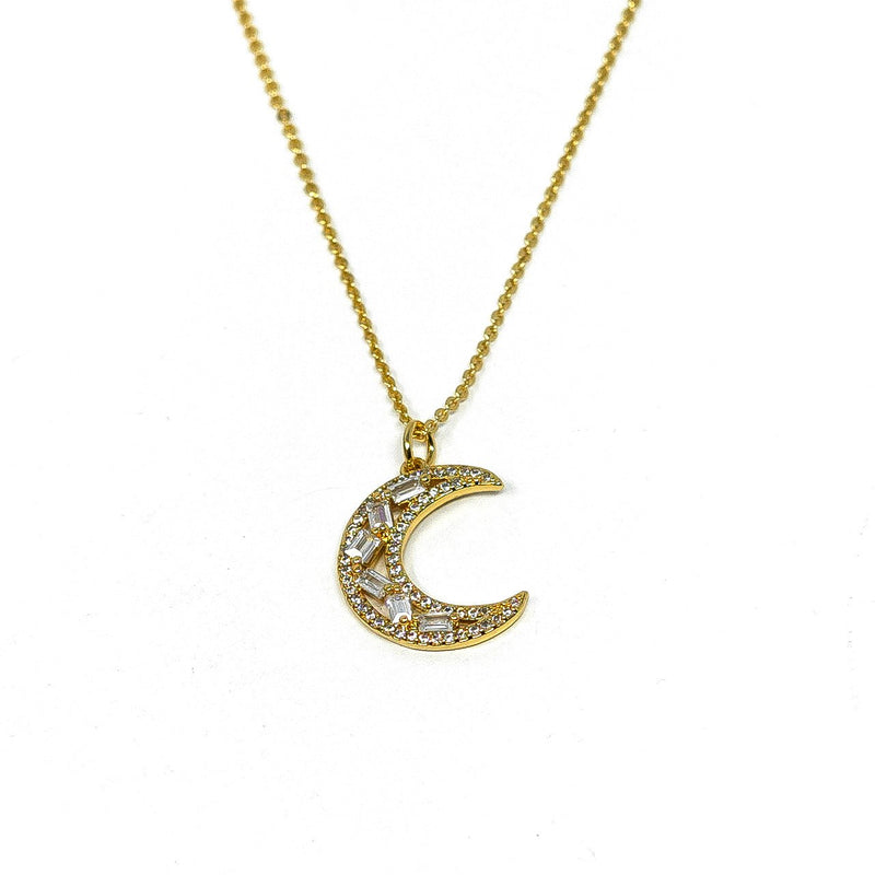 Crystal Crescent Moon Pendant Necklace JEWELRY The Sis Kiss