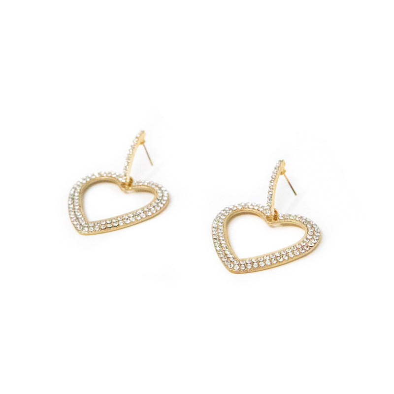 Be Mine Crystal Heart Earrings JEWELRY The Sis Kiss