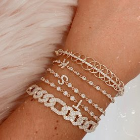 Crystal Single Letter Initial Bracelet JEWELRY The Sis Kiss