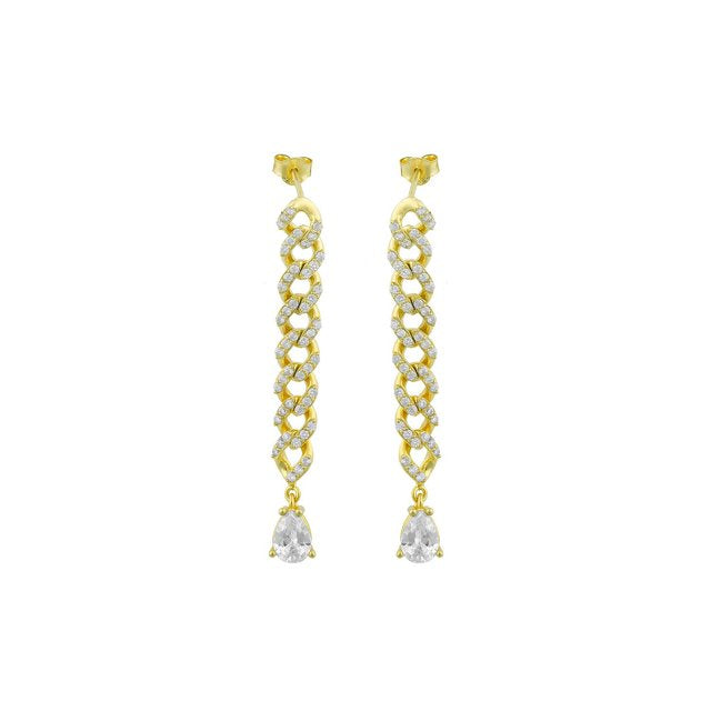 Drop Pavé Crystal Chain Earrings JEWELRY The Sis Kiss