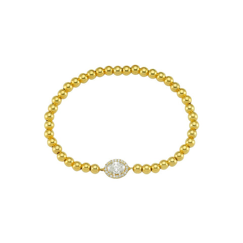 Halo Wrap Crystal Solitaire Beaded Bracelet