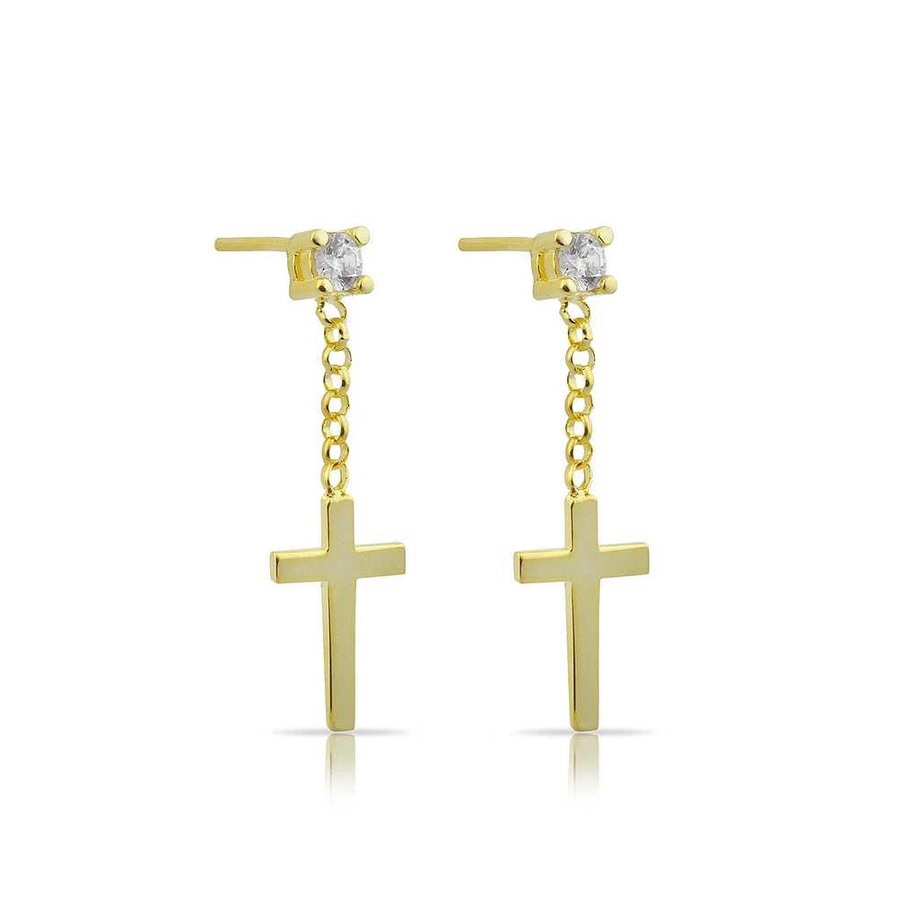 Crystal and Gold Cross Drop Studs JEWELRY The Sis Kiss