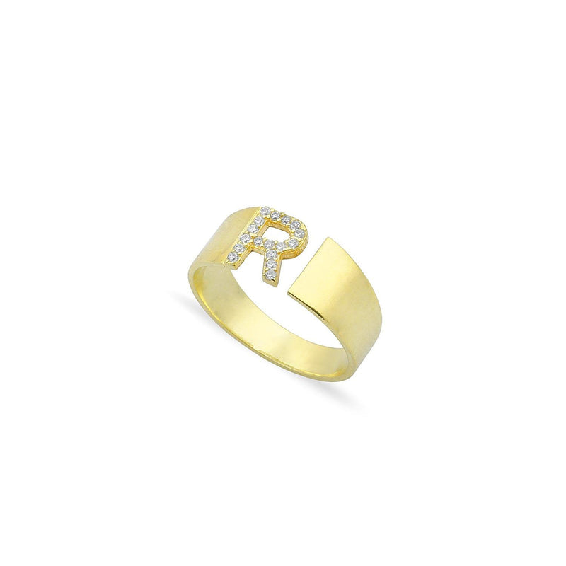 Custom Adjustable Band Initial Ring JEWELRY The Sis Kiss Gold