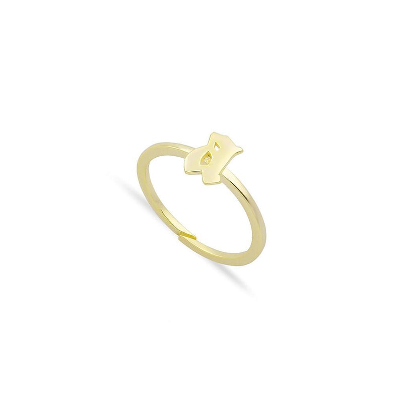 Custom Adjustable Lowercase Old English Initial Ring JEWELRY The Sis Kiss Gold