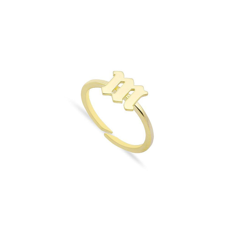 Custom Adjustable Lowercase Old English Initial Ring JEWELRY The Sis Kiss