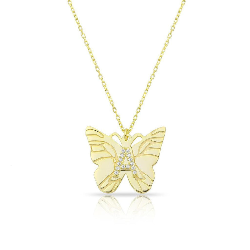 Custom Butterfly and Crystal Initial Necklace JEWELRY The Sis Kiss Gold