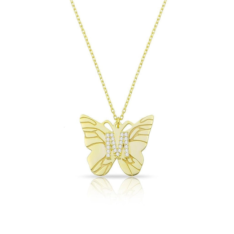 Custom Butterfly and Crystal Initial Necklace JEWELRY The Sis Kiss