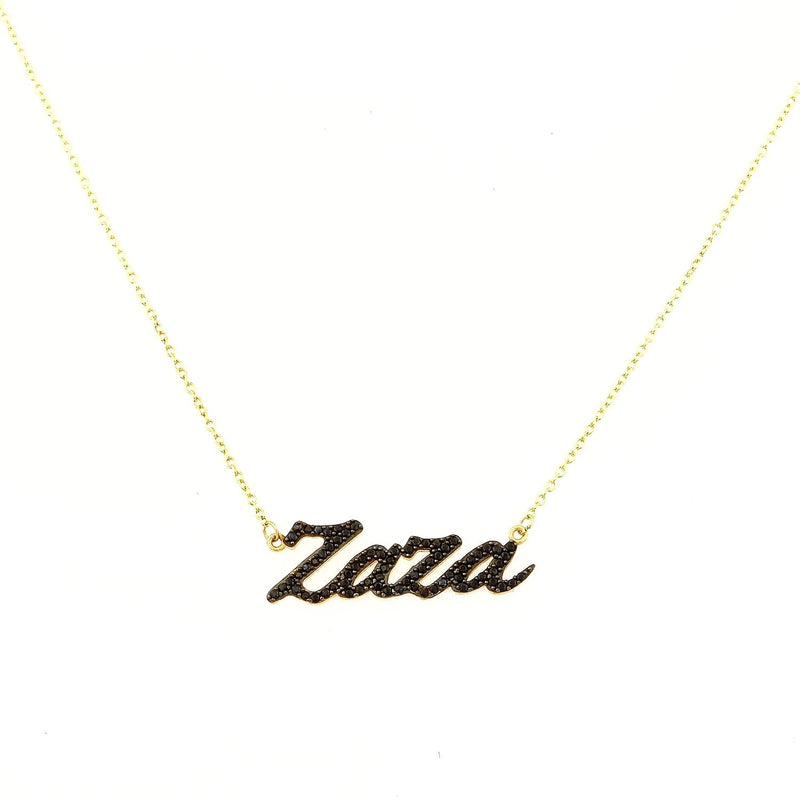 Custom CZ Script Nameplate necklace The Sis Kiss