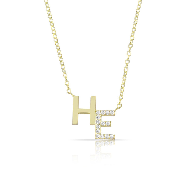 Custom Crystal Accent Initial Necklace JEWELRY The Sis Kiss Gold