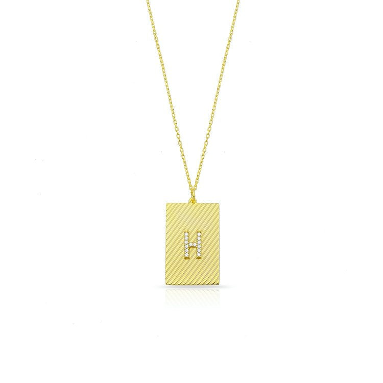 Custom Diagonal Repeat Initial Necklace JEWELRY The Sis Kiss Gold