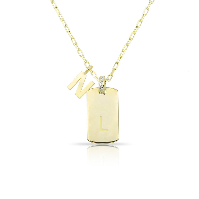 Custom Dog Tag Initial Necklace with Initial Charm JEWELRY The Sis Kiss Gold Solid Finish Charm
