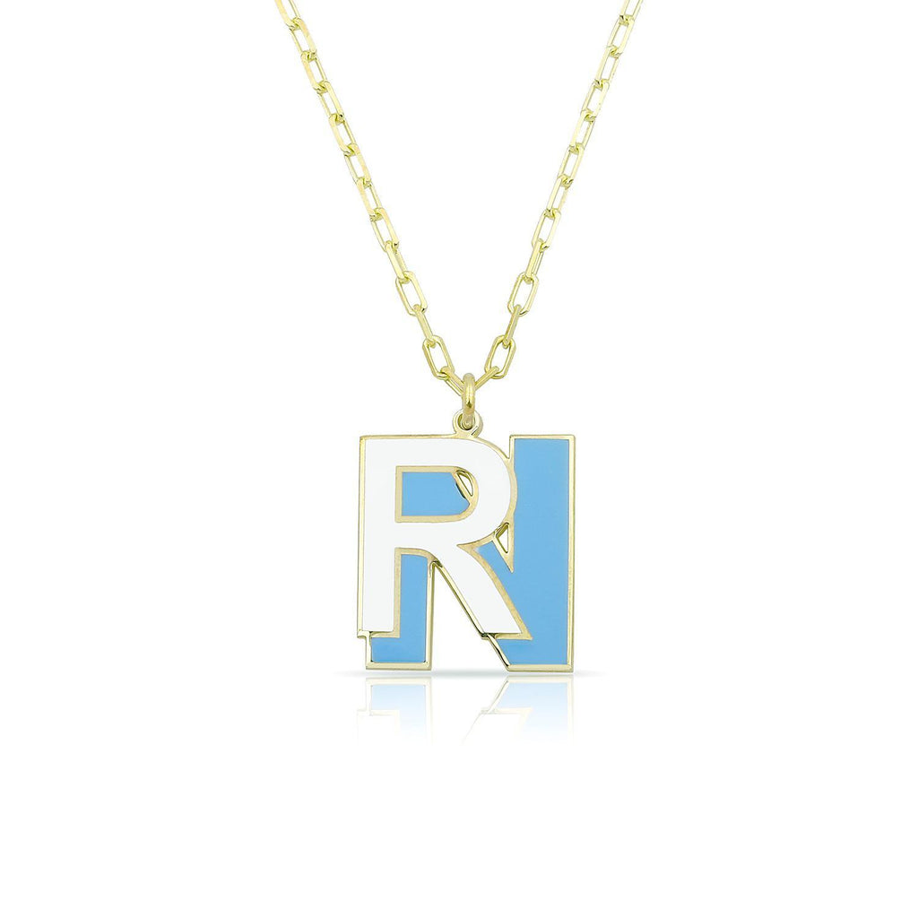 Custom Double Layered Enamel Initial Necklace JEWELRY The Sis Kiss Gold Blue