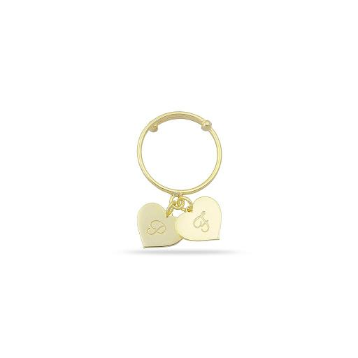 Custom Heart Adjustable Initial Ring JEWELRY The Sis Kiss Two Heart Charms Gold