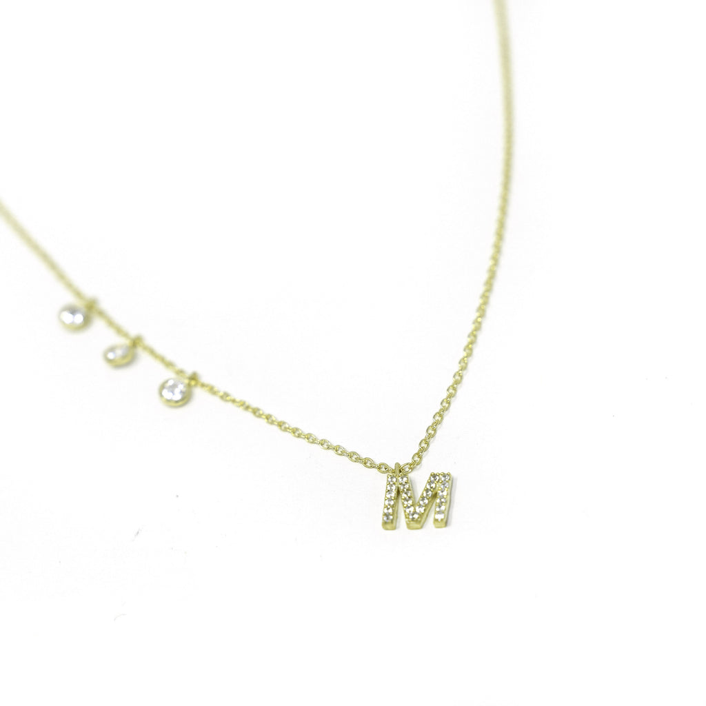 Custom Initial Necklace with Crystal Charms JEWELRY The Sis Kiss Gold with Crystals