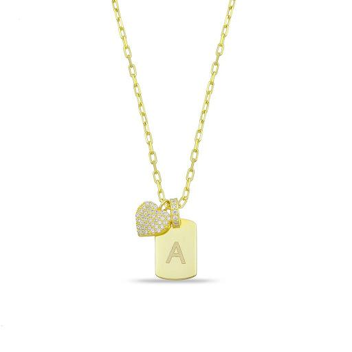 Custom Initial Tag Necklace with Heart Charm JEWELRY The Sis Kiss Gold
