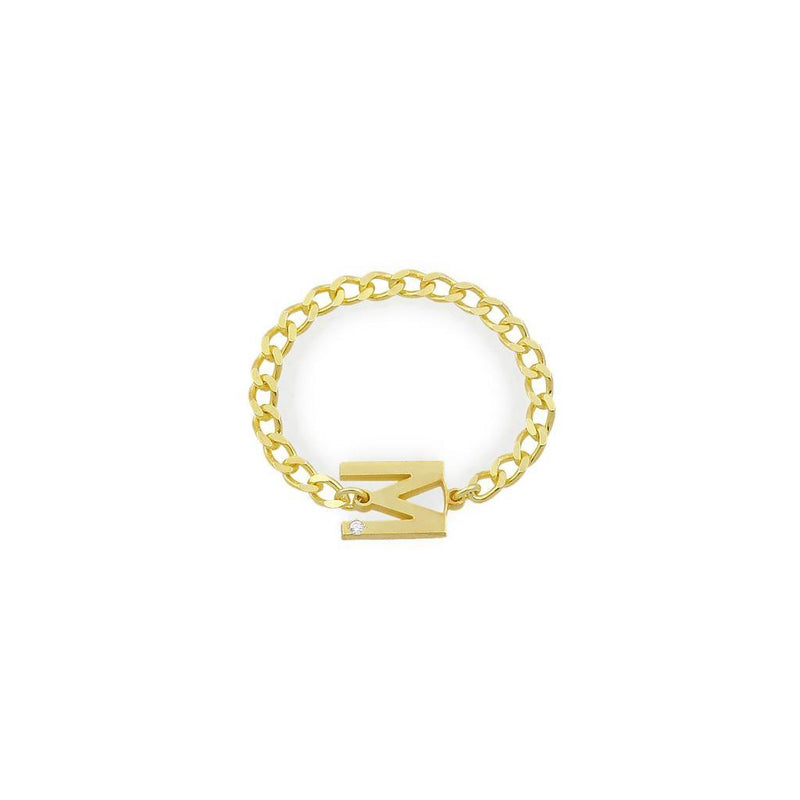 Custom Initial and Crystal Chain Link Ring JEWELRY The Sis Kiss Gold 4 Flat Link