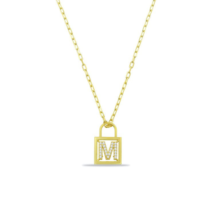 Custom Number or Initial Lock Necklace JEWELRY The Sis Kiss Gold One Initial/ Number